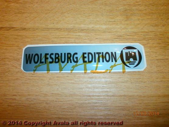 """Stiker 120x26mm """"Wolfsburg edition"""" (beli) *0902558*"""