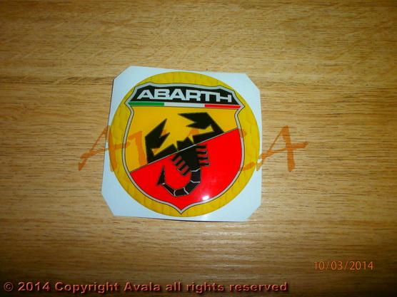 "Stiker okrugli 72mm ""Abarth"" (novi znak) žuti *0902540*"